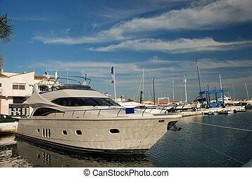 Luxury yacht in the harbor of Marbella, Spain