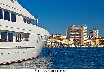 Luxury yacht in Zadar waterfront