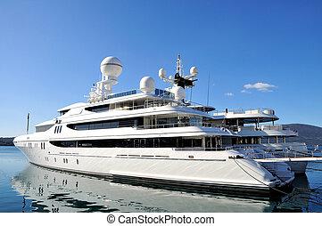 Large luxury yacht anchored at Porto Montenegro, Tivat. Bay of Boka kotorska.