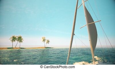 Luxury yacht sails on the race. Cruise yachting. 4K