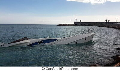 Luxury Yacht Semi-Sunk - Close Up View Of Luxury Yacht Half...