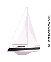 Luxury yacht ship with mast isolated on white