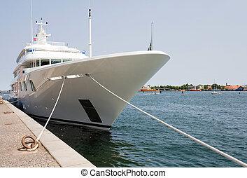 Luxury Yacht - Luxury yacht moored at Copenhagen harbour