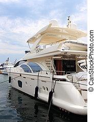 luxury yacht - detail shot of luxury yacht, locked at harbor...