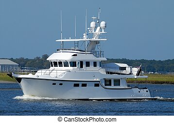 Luxury Yacht - Yacht cruising on the river at Florida, USA.