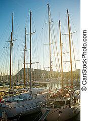 Luxury yachts in Barcelona
