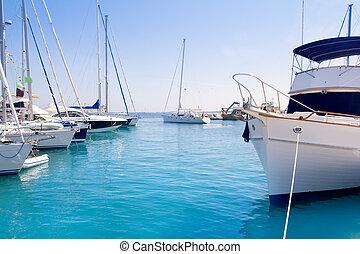 Luxury yachts in Formentera marina near ibiza