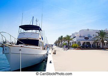 Luxury yachts in Formentera marina