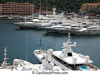 Luxury yachts in the bay of Monaco
