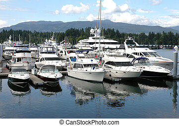 Luxury yachts in Vancouver BC marina. Canada.