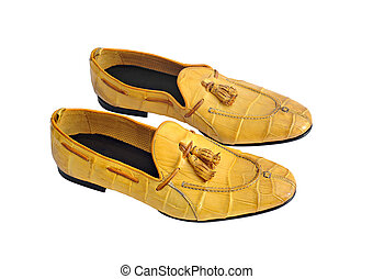 Luxury yellow crocodile leather stylish male shoes isolated on white background
