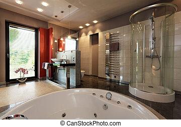 Stählern, hahn, bad. Badezimmer, modern, fliesenmuster, bad ...