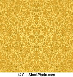 luxus, goldenes, blumen-, tapete