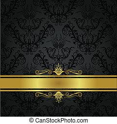 luxus, holzkohle, und, gold, buchdeckel