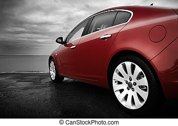 luxus, kirschen, rotes auto