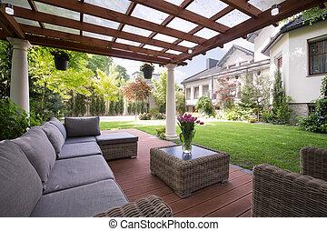 Luxus, kleingarten, möbel
