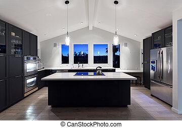 Modern, house., luxus, kueche .