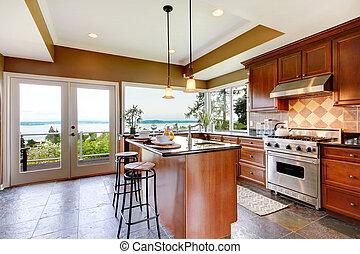 luxus, kueche , inneneinrichtung, mit, grün, wände, und, stein, floor.