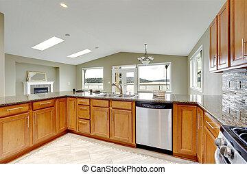 gro brauner kabinette ahorn kueche bild suche foto. Black Bedroom Furniture Sets. Home Design Ideas