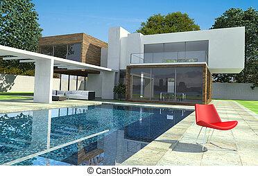 luxus, modern, villa, außen