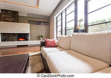 Lebensunterhalt, modern, luxus, zimmer. Wohnzimmer, windows ...