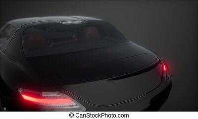luxus, sport, auto, in, dunkel, studio, mit, helle lichter
