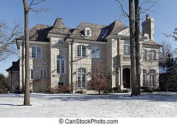 luxus, stein, heim, winter