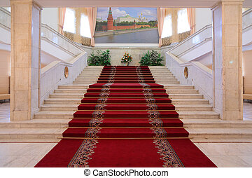 luxus, treppenhaus, innenseite, wohnungen