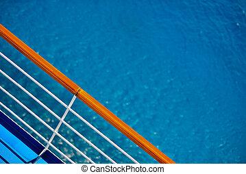 luxushajó, fedélzet, védőkorlát, kilátás