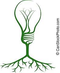 luz, árvore, idéia, bulbo