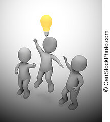 luz, -, 3d, ideas, concepto, inspiración, bombilla, depicted...