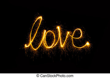 luz, abstratos, fogo artifício, experiência preta, sparkler