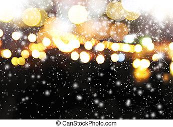 luz, abstratos, neve, obscurecido, bokeh, fundo, natal