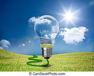 luz, actuación, paneles, solar, bombilla