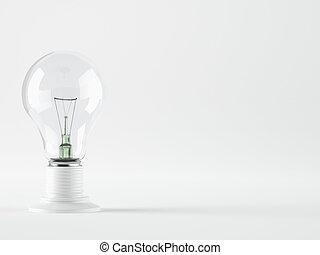 luz, aislado, realista, foto, imagen, bombilla