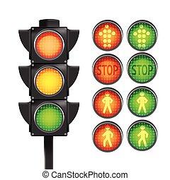 luz, aislar, amarillo, vector, tráfico, rojo verde