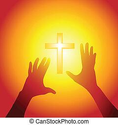 luz, alcance, crucifixos, luminoso, mãos