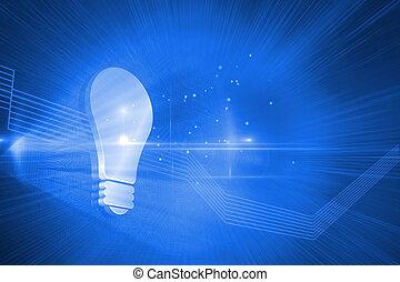 luz azul, brilhante, fundo, bulbo