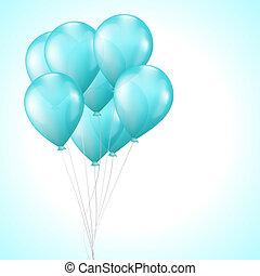luz azul, brillante, globos, plano de fondo