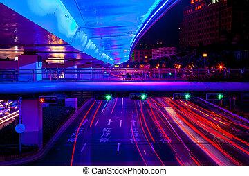 luz azul, central, coches, shanghai, calle, tráfico, carretera, noche, senderos, verde, china., rojo