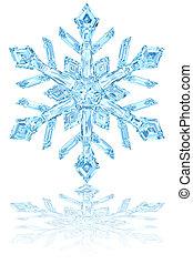 luz azul, cristal, brillante, copo de nieve blanco