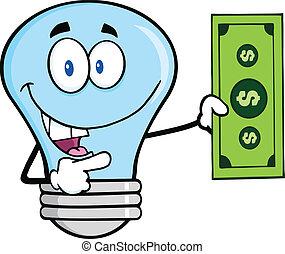 luz azul, cuenta, dólar, bombilla