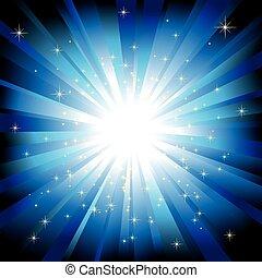 luz azul, explosión, con, brillante, estrellas