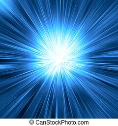 luz azul, explosión