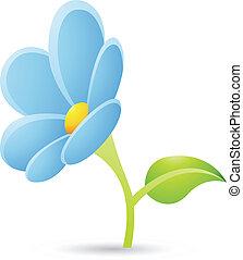 luz azul, flor, icono