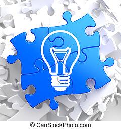luz azul, icono, puzzle., bombilla