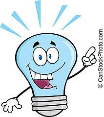 luz azul, idea brillante, bombilla