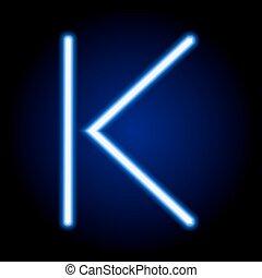 luz azul, k, neón, ilustración, solo, vector, carta