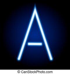luz azul, neón, ilustración, solo, vector, carta