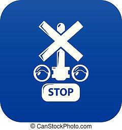 luz azul, parada, vetorial, tráfego, estrada ferro, ícone